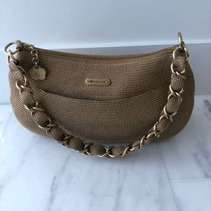 Eric Javits Squishee® Beige Bag with Golden Chain
